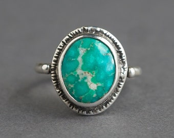 Emerald Valley Turquoise Ring, Natural Turquoise Ring, Nevada Turquoise, American Turquoise, OOAK Ring, Gift For Her, unique Gift, Sz 8.5