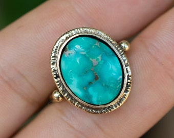 14k Gold Emerald Valley Turquoise Ring, Natural, Solid Gold Ring, Nevada, American Turquoise, OOAK, Handmade, Fine Jewelry, Gift For Her