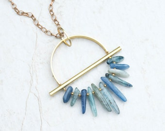 DRIFTER, Raw Kyanite & Brass Necklace, Kyanite Pendant,Kyanite Necklace, Gift For Her, Unique Gift, Modern Brass Jewelry, Stocking Stuffer