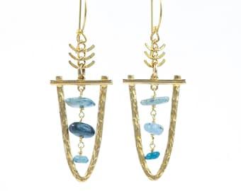 THEIA/ Raw Kyanite Chandelier Earrings, Kyanite Earrings, Boho Dangle Earrings, Statement earrings, Kyanite Chandelier Earrings, Antique