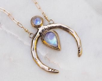 NEW MOON / Moonstone Necklace, Crescent Moon Necklace, Moonstone Jewelry, Rainbow Moonstone Necklace, Moon Phase Necklace, Bohemian Jewelry