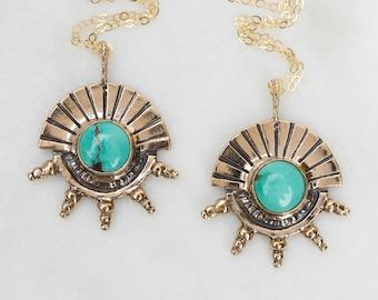 HELIOS, Kingman Turquoise Pendant, Sun God Pendant, Genuine Turquoise, Boho Necklace, Unique Gift, Egyptian Pendant, Sun Symbol, Gold