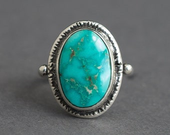 Sz 4.5 Emerald Valley Turquoise Ring, Natural Turquoise Ring, Nevada Turquoise, American Turquoise, OOAK Ring, Gift For Her, unique Gift
