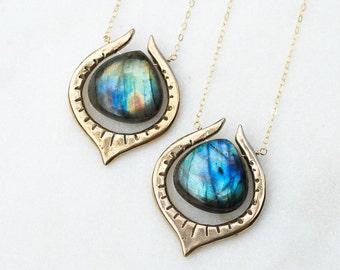 SERA / Labradorite Teardrop Necklace, Blue Labradorite Necklace, Labradorite Pendant, Gold Filled Labradorite Necklace, Gift For Her