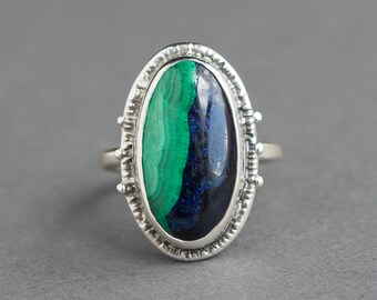 Sz 6.5 Azurite Malachite Ring, Morenci, Blue Green Stone, Oval Ring, Handmade Gemstone Ring, Statement, OOAK, Gift For Her, Sterling Silver