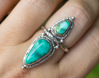 Emerald Valley Turquoise Ring, Natural Turquoise Ring, Nevada Turquoise, American Turquoise, OOAK Ring, Gift For Her, unique Gift, Sz 8