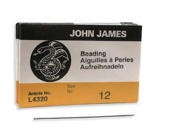 John James English Beading Needles Size 12 41433 Bulk Pack Needles, English Needles, Sewing Needles, Craft Needles, L4320 Needles