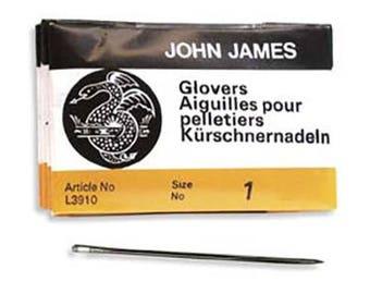 John James Glovers Needles Size 1 43605 Size 1 Leather Needles, Glovers Bulk Pack Needle, Craft Needles, John James Needle L3910
