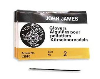 John James Glovers Needles Size 2 43600 Size 2 Leather Needles, Glovers Bulk Pack Needle, Craft Needles, John James Needle L3910