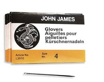 John James Glovers Needles Size 4 43601 Size 4 Leather Needles, Glovers Bulk Pack Needle, Craft Needles, John James Needle L3910