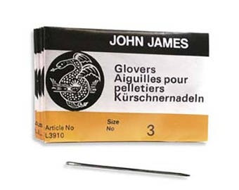 John James Glovers Needles Size 3 43607 Size 3 Leather Needles, Glovers Bulk Pack Needle, Craft Needles, John James Needle L3910