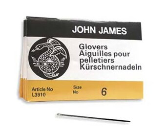 John James Glovers Needles Size 6 43602 Size 6 Leather Needles, Glovers Bulk Pack Needle, Craft Needles, John James Needle L3910
