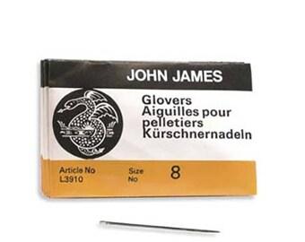 John James Glovers Needles Size 8 43603 Size 8 Leather Needles, Glovers Bulk Pack Needle, Craft Needles, John James Needle L3910