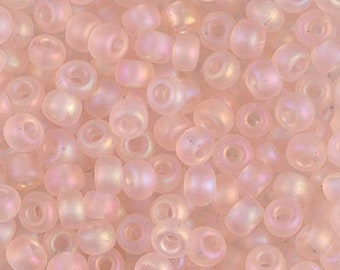 30 Crystal Lined Pink Large Hole Czech Glass Seed Beads Big Seeds 6 inch tube 28 grams #207C