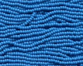 Glass 6 strand hank Czech Seed Beads 11//0 Transparent Dark Sapphire Blue 31064
