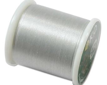 K.O. Beading Thread, Light Gray Japanese Beading Thread 43336 55yd, KO Beading Thread, Size B Beading Thread, Pre-Waxed Nylon Beading Thread