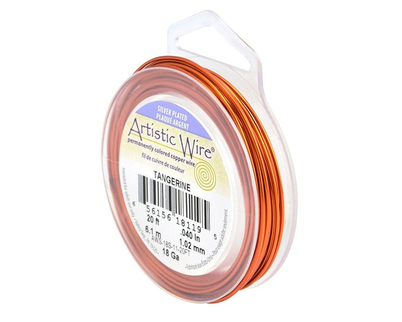 Jewelry Wire Wire Wrapping Silver Plated Wire Artistic Wire 18 Gauge Silver-Plated Tangerine Orange 41311 Orange Round Wire Craft Wire