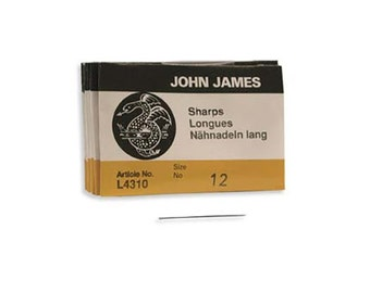 John James Sharps Needles Size 12 43372 , Size 12 English Needles, Sharps Bulk Pack Beading Needle, John James Needle L4310, Sewing Needles