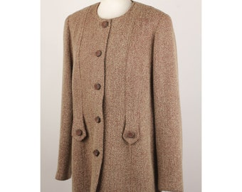 64ea24953cb Authentic Luisa Spagnoli Vintage Bouclé Tan Wool Blend Jacket Size 48