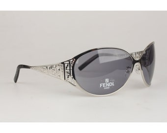 b2e69b4741a Authentic Fendi Vintage Silver Metal Oversized Women Mint 1990s Sunglasses  Mod. FS361