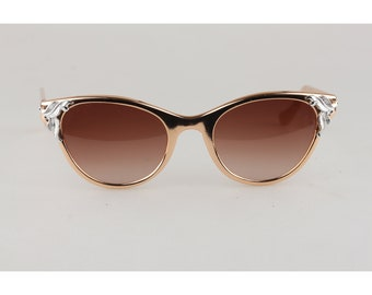 11a2ee05296 Authentic Original Vintage 1950s Alluminium Rose Gold Cat-Eye Mint  Sunglasses Made in France Never Worn