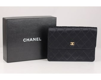 4de0c589c8ee Authentic Chanel Vintage Quilted Satin Clutch Evening Bag with Rhinestones