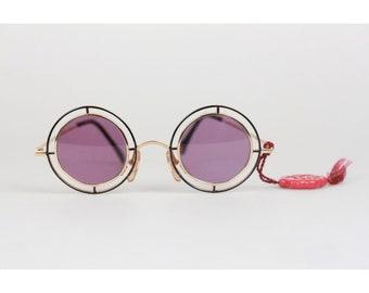 3b5967beaacc2 Authentic Casanova Vintage Rare Round Sunglasses Mod. MTC 2 Gold Plated 24K  33mm