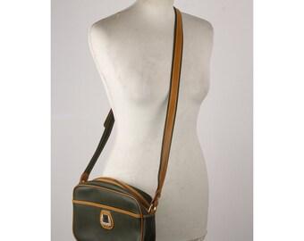 e4288e5d17b7f9 Authentic Lancel Vintage Military Green Canvas Messenger Bag