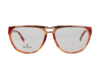 7cef0621ffe6 GUCCI Vintage Brown Gold Eyeglasses Unisex Frame GG 2321 57-15 135 NOS