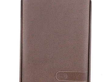 8f2b87ad5 Authentic GUCCI VINTAGE Brown Leather DESK notepad cover notebook holder
