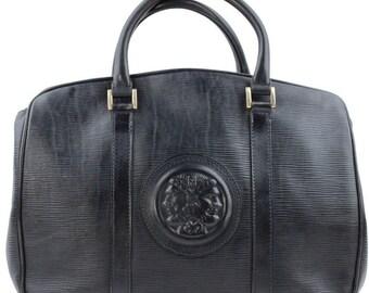 5a2239507f Fendi Vintage Blue Leather Janus Head Satchel Bag Handbag