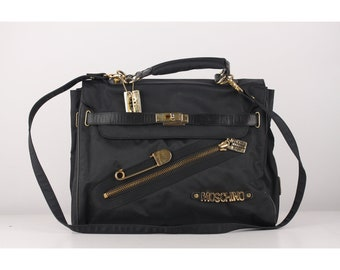 62a1f1aaf87 Authentic Moschino Redwall Vintage Black Nylon I Believe in Punk Chic  Satchel Bag