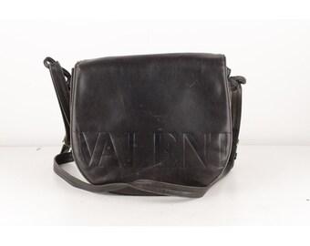 64182c93e0 Authentic Valentino Garavani Vintage Black Leather Logo Crossbody Bag