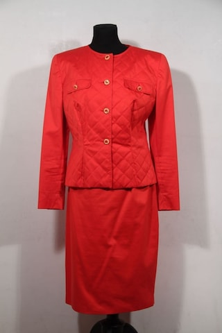CHIARA BONI Auth VINTAGE Red Cotton Suit quilted jacket and skirt set sz 46 it is