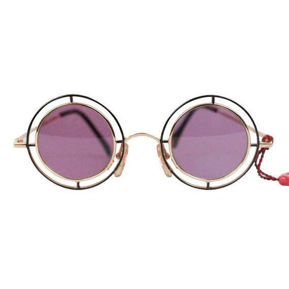 8f3fa0c93ff06 CASANOVA Vintage RARE Round Sunglasses mtc 2 GOLD Plated 24K