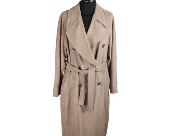 Authentic MAX MARA Vintage Tan Polyester Double Breasted Trench Coat IT Size 40