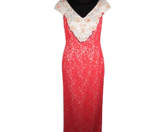 Authentic LUNA DI MIELE Vintage Hot Pink Lace Evening Dress with Beading