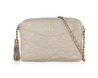 Authentic CHANEL Vintage Ivory Quilted Leather CC Stitch Camera Bag w/ Tassel