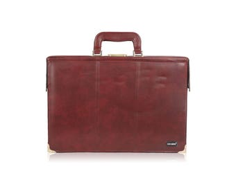 Authentic SUN SHOW Vintage Burgundy Leather Briefcase Attache Work Bag