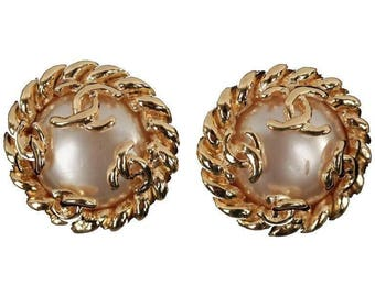 Authentic CHANEL Vintage Gold Metal and Faux Pearls Clip On Earrings