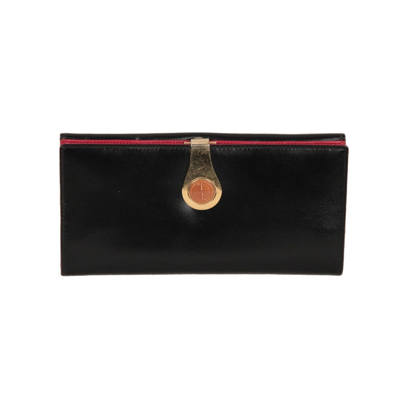 2a826e97db4 Authentic Gucci Vintage Black Leather Long Continental Wallet