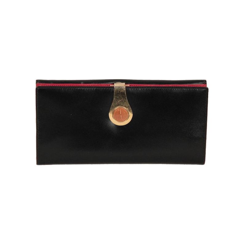 913b5d0bec6e Authentic Gucci Vintage Black Leather Long Continental Wallet | Etsy