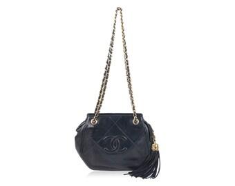 Authentic CHANEL Vintage Blue Quilted Leather Tassel Shoulder Bag