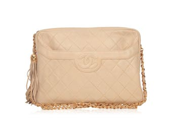 Authentic CHANEL Vintage Beige Quilted Leather CC Stitch Camera Bag w/ Tassel