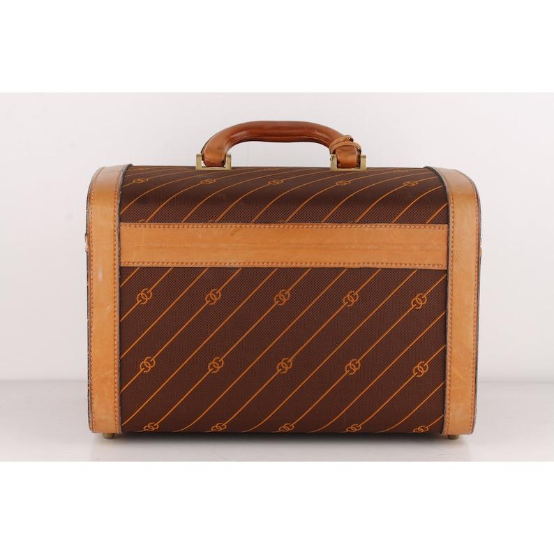 863cda6ab6ee6 Authentic Gucci Vintage Brown Logo Canvas Travel Bag Train Case Beauty  Handbag