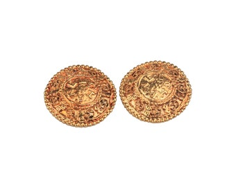 Authentic CHANEL Vintage Gold Metal Round Clip On EARRINGS CC Logos
