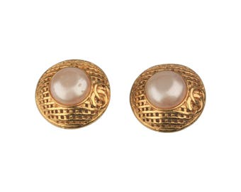 Authentic CHANEL Vintage Gold Metal and Faux Pearls GRID Clip On EARRINGS