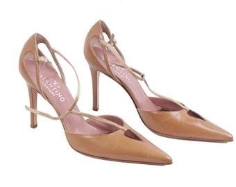 VALENTINO GARAVANI Vintage Tan Leather SALOME pumps heels shoes size 38 gt