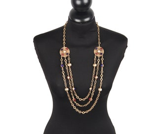 Authentic Chanel Vintage 1984 Gold Metal 3 Row Mint Necklace with Cabochons