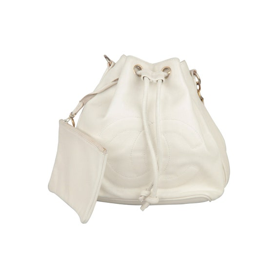 711b1a79abf Authentic CHANEL Vintage White Leather Drawstring Bag with CC   Etsy